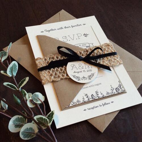 Custom Sample Luxury Emboss Kraft Paper Birthday Thank You for Shopping Card Set and Envelope