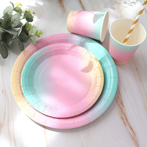 2020 New Disposable Birthday Plate Dessert Table Cake Plate Plate Party Tableware Gold Plate Dish Home Hotel Restaurant Hot >10