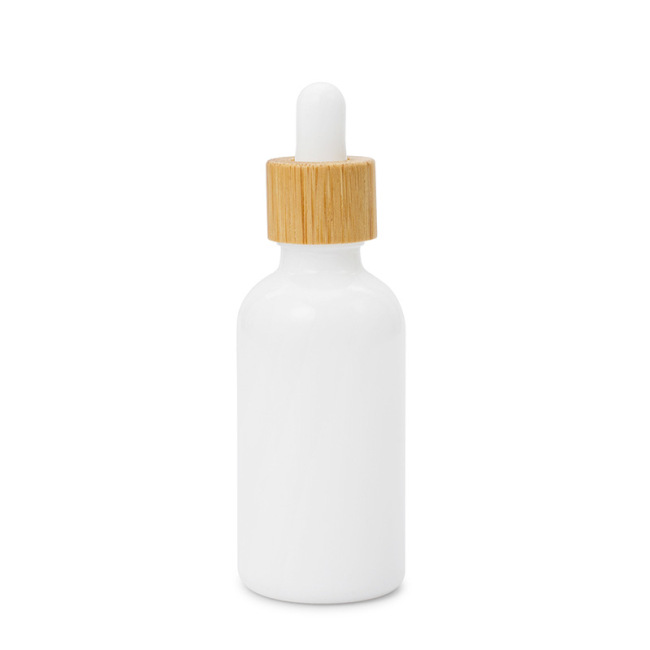 hot sale 5ml 1oz plain white glass dropper bamboo bottles made in China screw on lidserum glass bottle dropper with packing box