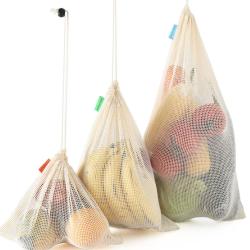 Reusable Durable Cotton Mesh Fruit Food Shopping Bag