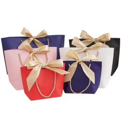 Christmas Paper Party Favor Bag Bulk WantGor 8x6x2.5inch Gift Bags With Handles And Bow Ribbon For Birthday Wedding