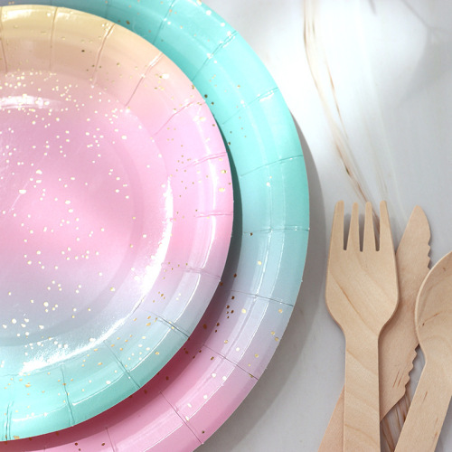 Cheap Price Wholesale Picnic Plate Set Napkin Cups Fancy Colored Party Supplies Paper Plates