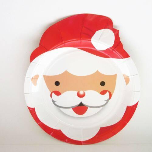 Santa Claus Christmas Under Plates Party Reusable Sugarcane Merry Christmas Paper Plates