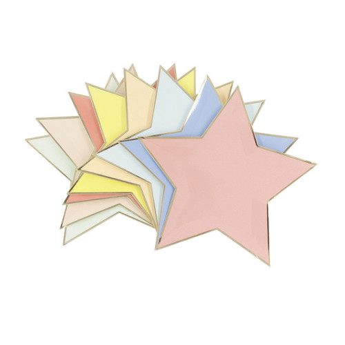 Compostable Sugarcane Gold Foil Party Tableware Disposable Custom Shaped Star Paper Plate