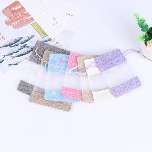Hot Sale Mini Clear Window Gift Jewelry Pouch 100% Biodegradable Coffee Bean Custom Drawstring Bag
