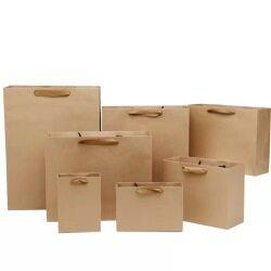 Customized luxury printed logo brown kraft paper bags high quality shooping bags