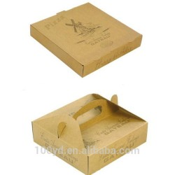 2017 new design kraft paper pizza box with handle