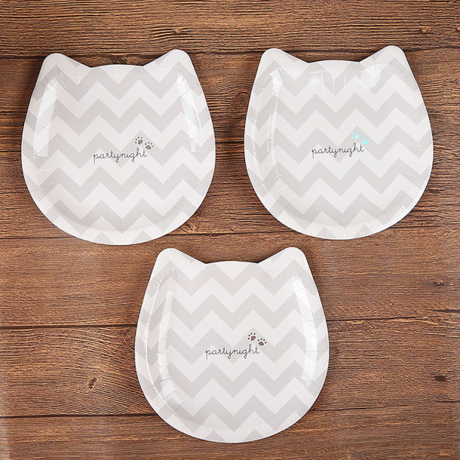High End Paper Plates Disposable Raw Material Fancy Design Cat Shaped Paper Plate Plate Dish Home Party Hotel Restaurant 9inch
