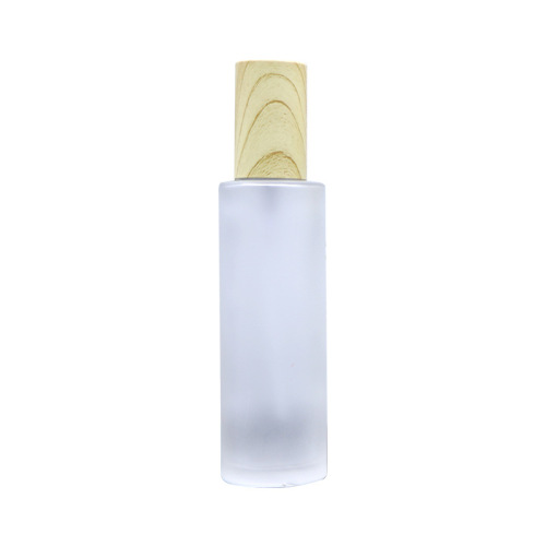 custom design recycled 100g 120g 150g frosted with pump bamboo cap skincare lotion bottles in bulk glass cosmetic packaging
