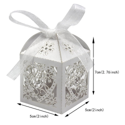 Favor Box Candy Bag Chocolate Gift Boxes Bridal Birthday Shower Bomboniere with Ribbons Love Heart Laser Cut Wedding Party Paper