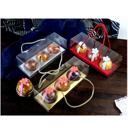 Custom Transparent Dome Plastic Cupcake Muffin Egg-yolk puff Packaging Box With Handle