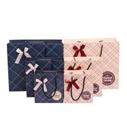 Custom Print Your  Logo Hot Foiled Stamping Black Matt Paper Bag With Cotton Rope Handles
