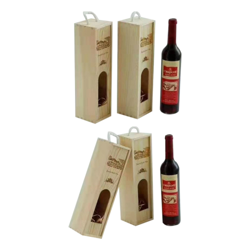 High quality pine wood box for wine bottle customize logo red wine set wooden box