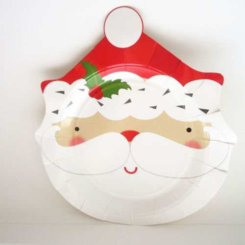 Amazon Hot Selling Cheap Party Supplies Disposable Santa Holding Plate Paper Compostable Novelty Christmas Plate