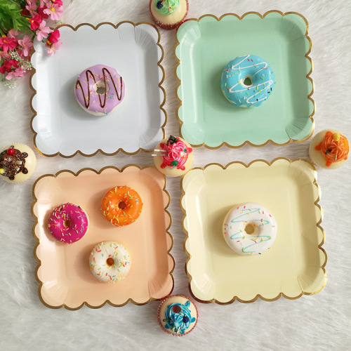 Areca Nut bowls Disposable paper plate  Divided Hot Stamp  Eco friendly  Square Kids Plates