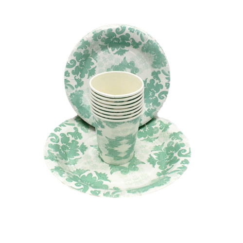 Biodegradable Bagasse Raw Material Eco-friendly Custom Pastel Paper Plates and Cups Set