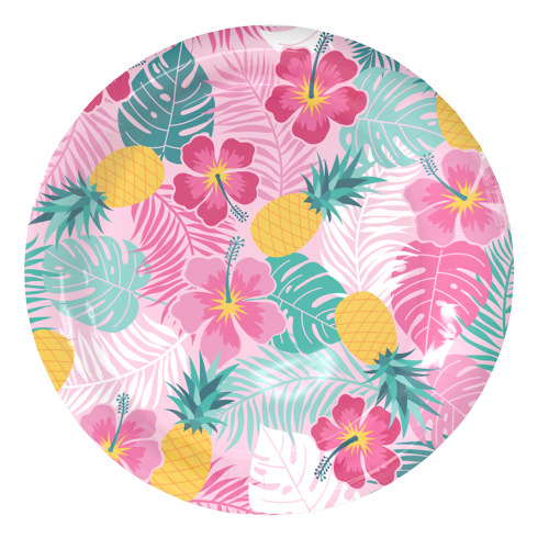 Birthday Party Supplies Tableware Colored Paper Plates Custom Printed Flower Design Bagasse Disposable Plate Dish Round 9inch
