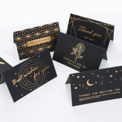 Luxury Professional Printing Cards Gold Foil Hot Stamp Thank You Birthday Happy Greeting Cards with Envelope