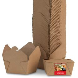 Take Out Food Containers Microwaveable Kraft Brown Boxes Leak and Grease Resistant for Fast Biodegradable Paper