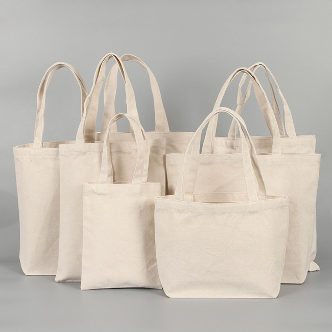 Natural Recycled Shopping Custom Logo Printed Eco-Friendly Cotton Blank Printed Cotton Canvas Bag