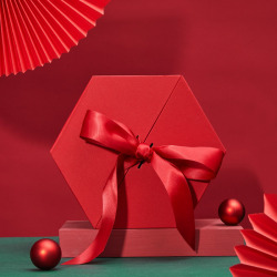 custom  logo  cardboard  Hexagon Storage  Bespoke  Custom size  Rigid Clamshell  Box with ribbon closure