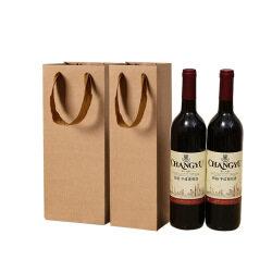 Professional custom luxury wine bag brown kraft packaging bag with printing logo