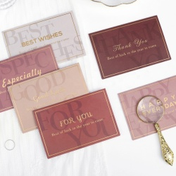 High-end Gold Foil Hot Stamp Color Thank You Birthday Happy Greeting Cards with Envelop