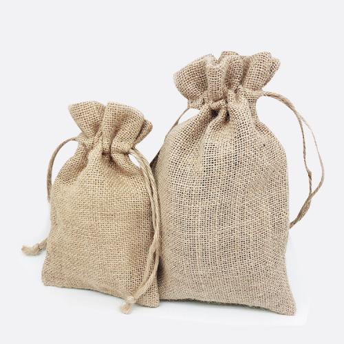 Durable Mini Linen Burlap Personalized Customised Print Small Soft Wholesale Seed Hemp Drawstring Bags