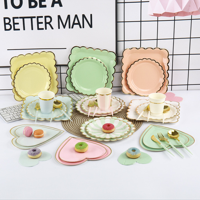 Disposable Sugarcane Raw Material Camping Picnic Luxury Birthday Paper Plates and Cups Set
