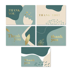 Sage Green Gold Foil Gift Card Blank Inside Thank You Cards With Matching Envelopes For Business, Graduation, Funeral