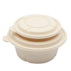 Disposable eco-friendly biodegradable corn starch takeaway rice box 1000ml round soup bowl porridge bowl customization