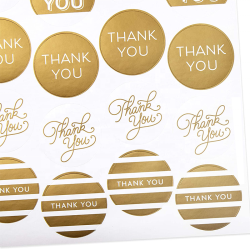 Thank You Stickers Gold Foil and Glitter Dots Thank You Notes For Wedding, Bridal Shower, Baby Shower, Graduation