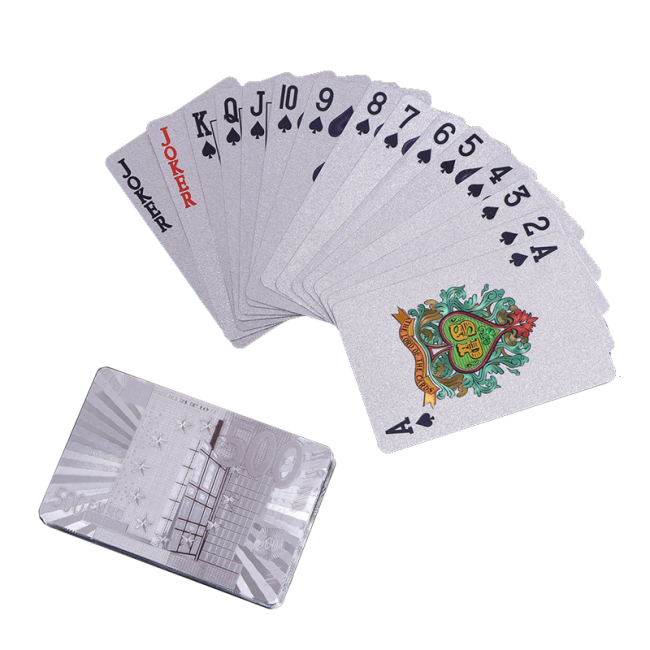 Wholesale design classical silver foil custom logo packing printed card game accessories home table gaming poker cards