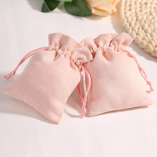 Custom Wholesale Jewelry Packing Gift Pouch Drawstring Pink Velvet Bag with Logo Printing