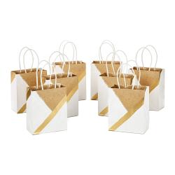 Small Size Paper Gift Bags Gold Foil Logo White Kraft Paper Bag For Christmas, Birthdays, Weddings