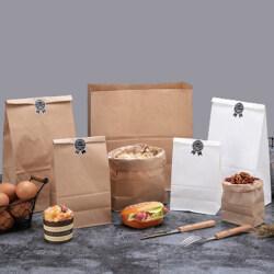 Biodegradable  food paper bag logo printed package bags stand up  brown paper bag