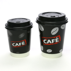 Double Wall Insulated Hot Paper Cups Custom Design Logo Printed Disposable Paper Coffee Cups with Lid Specialty Paper Black N128