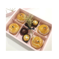 Disposable plastic blister PET packaging dome & box for cake & egg-yolk puff food grade blister tray