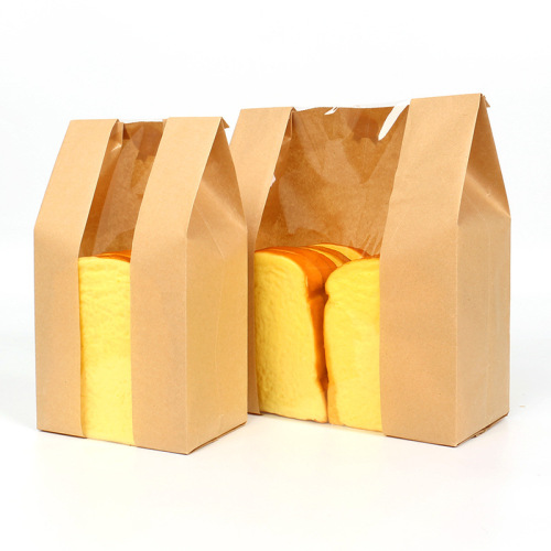 Customized Brown Kraft Paper Bag Food Bread Coffee Packing Bag, Wholesale Flat Mouth Kraft Paper Bag with Window