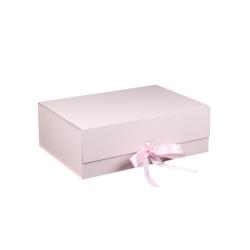 Customized Logo Luxury Cardboard Magnetic Folding Gift Box With Ribbon Closure