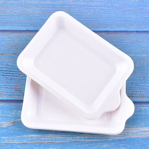 High Quality Biodegradable Bamboo Party Supplies Paper Plates Tableware Rectangle Shaped Disposable Paper Plate Holder