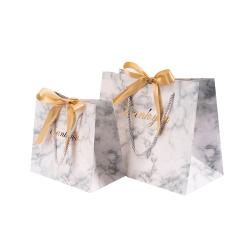 Hot design marble printing with ribbon handles eco friendly gift bag custom packaging paper bag women hand bags