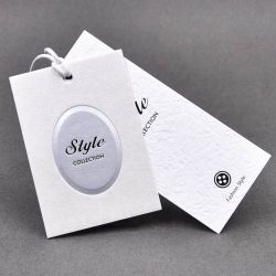 Custom Art Matte Paper Blind Embossed Printing for Business Product Hang Tags