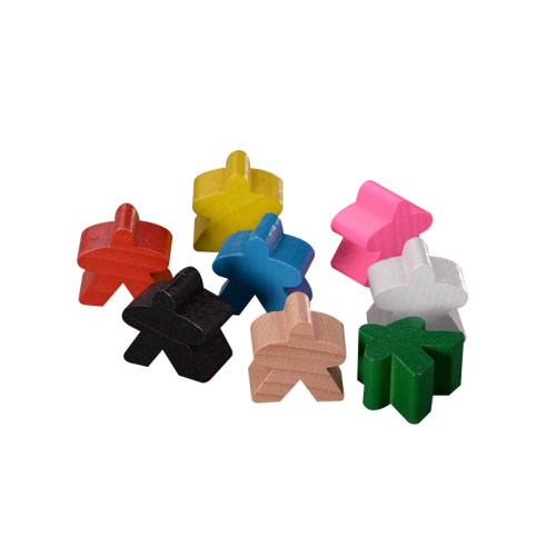 High quality Customized wooden pieces colorful board game meeple