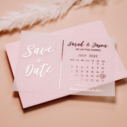 Photo Save the Date Calendar Foiled Vellum with Backing Card Minimalist Simple Modern Wedding Invitation Cards