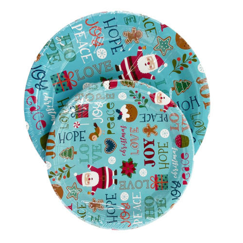New Arrival Party Supplies Disposable Christmas Paper Plate Custom Printed Santa Claus Decorative Christmas Plates