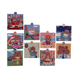 New product home wall decoration cute girl bear patterns round paper adhesive cartoon sticker gift card set