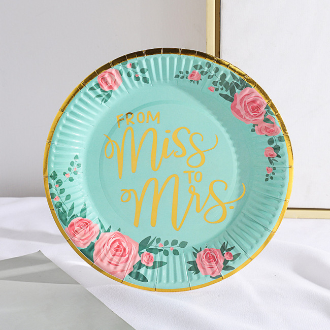 Wedding Birthday Party Supplies Gold Edge Round Shaped Sugarcane Paper Plate