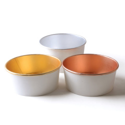 Wholesale thickened stinky tofu soup bowl custom Logo disposable gold foil paper bowl with cover marinated sour spicy powder