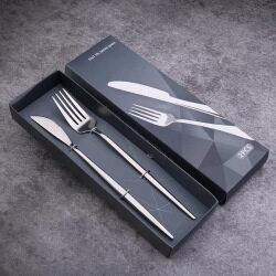 OEM customized luxury black packing box fot cutlery knife and folk set